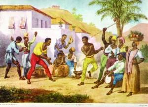 """Gemälde von Johann Moritz Rugendas (1835), das zwei Personen im Capoeira-Spiel zeigt. Das Gemälde heißt übersetzt """"Capoeira-Spiel - Tanz des Krieges""""."""