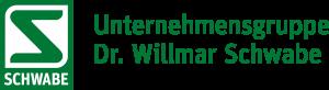 """Logo der Unternehmensgruppe Dr. Wilmar Schwabe. Text in grüner Farbe auf weißem Grund: """"Unternehmensgruppe Dr. Wilmar Schwabe - From Nature. For Health."""""""